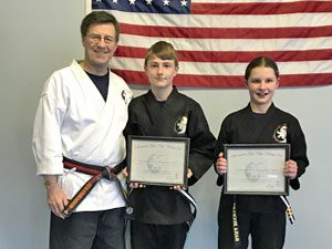 Goju ryu Karate Junior 3rd Degree Black Belts Ben and Sara