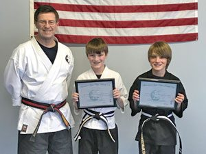 Goju ryu Karate Junior 1st Degree Black Belt Will and 2nd Degree Black Belt Danny