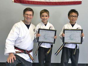 Goju ryu Karate Junior 1st Degree Black Belts Nathan and Gavin