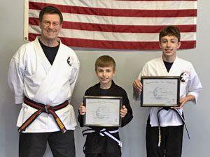Goju ryu Karate Junior Black Belt Brothers: 1st Degree Owen and 2nd Degree Ben