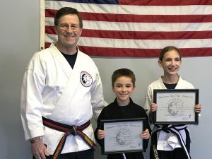 Yoshitsune Jujitsu Black Belts:Junior 1st Degree Libby, Junior 2nd Degree Kyan, Adult 2nd Degree Traci, Adult 2nd Degree Isabella, and Adult 2nd Degree Caleb