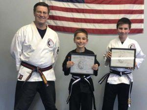 Goju ryu Karate Junior 3rd Degree Black Belts Gavin and Okain